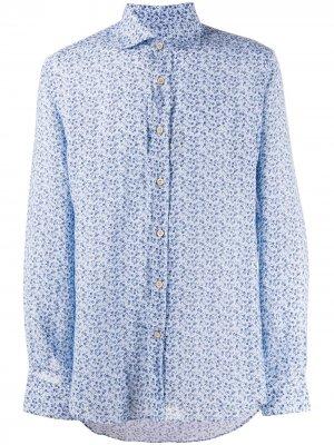 Рубашка с цветочным принтом Corneliani. Цвет: синий