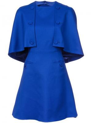 Платье-кейп на пуговицах Sara Battaglia. Цвет: синий