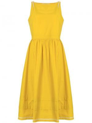 Летнее приталенное платье с расклешенной юбкой Philosophy Di Lorenzo Serafini. Цвет: желтый