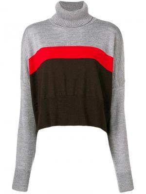 Укороченный свитер в полоску Marios. Цвет: серый