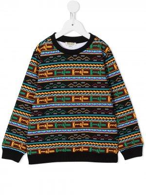 Geometric-print cotton sweatshirt Kenzo Kids. Цвет: черный