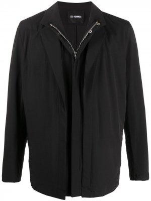 Многослойная куртка на молнии Les Hommes. Цвет: черный