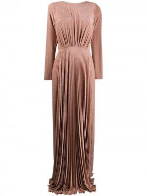 Плиссированное вечернее платье с эффектом металлик Elisabetta Franchi. Цвет: розовый