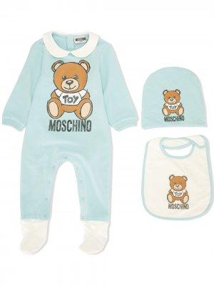 Комплект для новорожденного с принтом Teddy Bear Moschino Kids. Цвет: синий