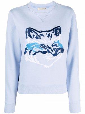 Джемпер с вышивкой Maison Kitsuné. Цвет: синий