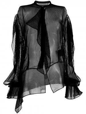 Блузка с длинными рукавами и оборками Roland Mouret. Цвет: черный