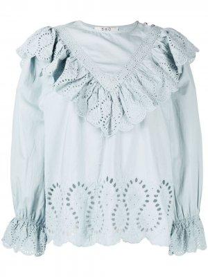 Блузка с английской вышивкой Sea. Цвет: синий