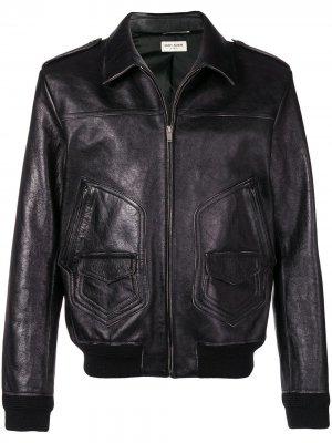 Кожаная куртка на молнии Saint Laurent. Цвет: черный