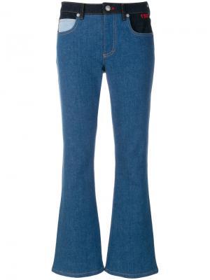 Расклешенные джинсы с контрастными деталями Sonia Rykiel. Цвет: синий