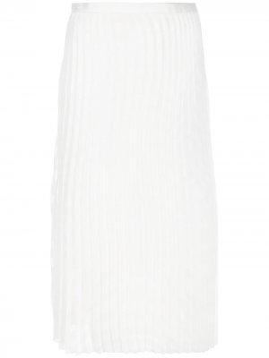 Плиссированная юбка миди Victoria Beckham. Цвет: белый