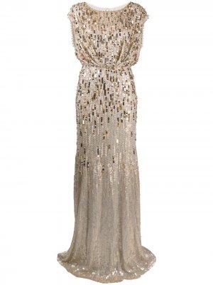 Вечернее платье с пайетками Jenny Packham. Цвет: золотистый