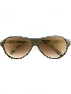 Солнцезащитные очки с круглой оправой Victoria Beckham. Цвет: зеленый