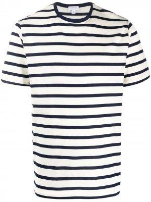 Полосатая футболка с круглым вырезом Sunspel. Цвет: синий