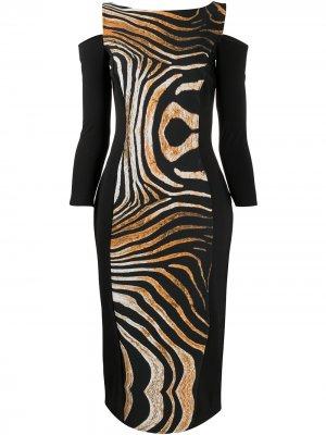 Платье с анималистичным принтом и вырезами Le Petite Robe Di Chiara Boni. Цвет: черный