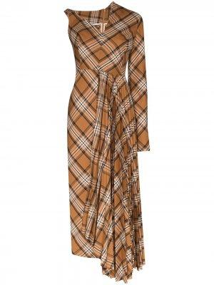 Плиссированное платье миди асимметричного кроя в клетку A.W.A.K.E. Mode. Цвет: коричневый