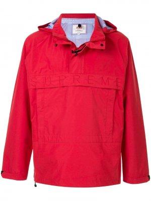 Пуловер с капюшоном и логотипом Supreme. Цвет: красный