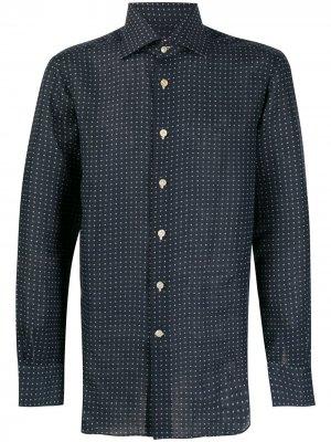 Рубашка в горох с длинными рукавами Kiton. Цвет: синий