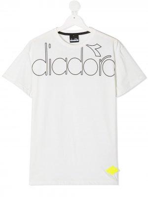 Футболка с логотипом Diadora Junior. Цвет: белый
