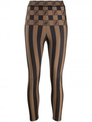 Полосатые легинсы с логотипом Fendi. Цвет: коричневый