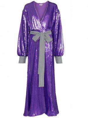 Длинное платье-халат с пайетками Natasha Zinko. Цвет: фиолетовый