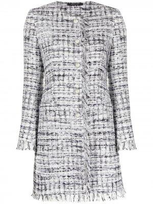 Твидовое пальто с бахромой Tagliatore. Цвет: белый