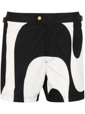 Плавки-шорты с принтом Tom Ford. Цвет: черный