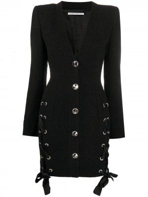 Короткое платье-блейзер Alessandra Rich. Цвет: черный