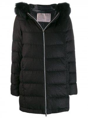 Пальто на молнии с капюшоном Herno. Цвет: черный