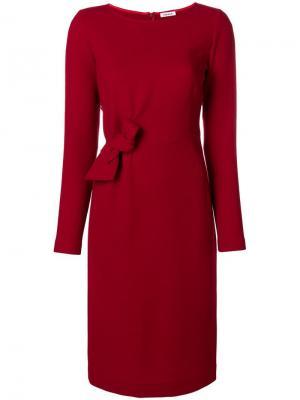 Платье миди с длинными рукавами и бантом P.A.R.O.S.H.. Цвет: красный