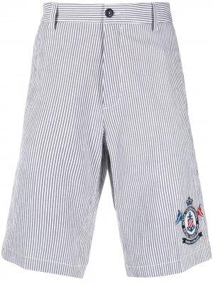 Полосатые шорты с нашивкой-логотипом Paul & Shark. Цвет: синий