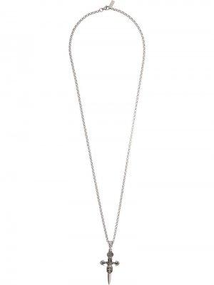 Колье с кулоном в виде креста Nialaya Jewelry. Цвет: золотистый