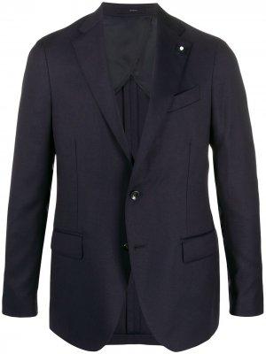 Однобортный пиджак с декоративной деталью Lardini. Цвет: синий