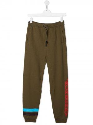 Спортивные брюки с логотипом Burberry Kids. Цвет: зеленый