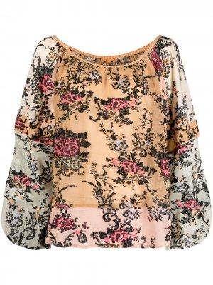 Жаккардовая блузка с цветочным узором Mes Demoiselles. Цвет: коричневый