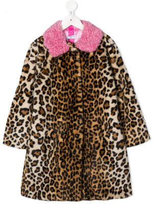 Пальто с леопардовым принтом Monnalisa. Цвет: нейтральные цвета