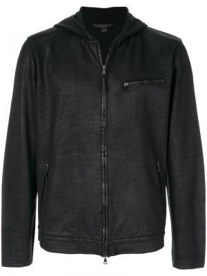 Куртка с капюшоном на молнии John Varvatos. Цвет: черный