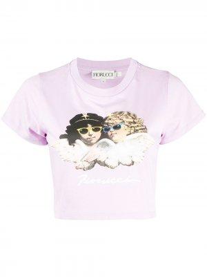 Укороченная футболка с короткими рукавами Fiorucci. Цвет: фиолетовый