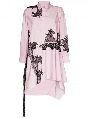 MarquesAlmeida платье-рубашка асимметричного кроя с кружевом Marques'Almeida. Цвет: розовый