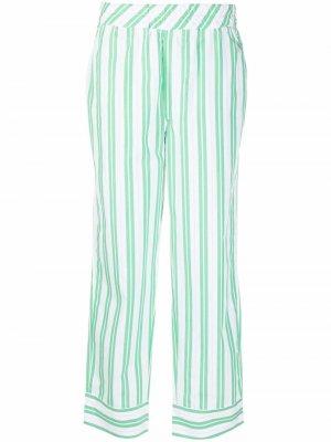 Прямые брюки в тонкую полоску GANNI. Цвет: зеленый