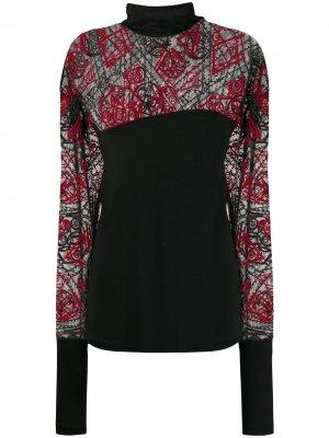 Блузка 1990-х годов с вышивкой и прозрачными вставками Romeo Gigli Pre-Owned. Цвет: черный