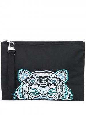 Клатч с вышитым логотипом Kenzo. Цвет: черный