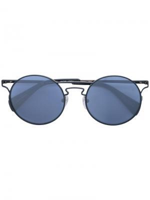 Солнцезащитные очки в круглой оправе Yohji Yamamoto. Цвет: черный