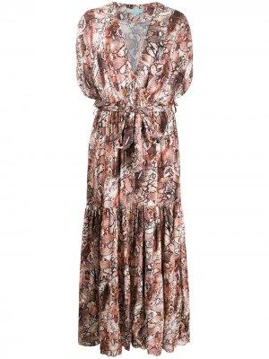 Платье Aria со змеиным принтом Melissa Odabash. Цвет: нейтральные цвета