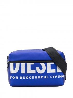 Поясная сумка с логотипом Diesel. Цвет: синий