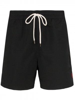 Плавки-шорты с вышитым логотипом Polo Ralph Lauren. Цвет: черный