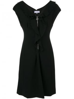 Платье с застежкой на молнию и оборками Carven. Цвет: черный
