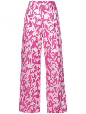 Жаккардовые брюки с принтом гвоздик Stine Goya. Цвет: розовый