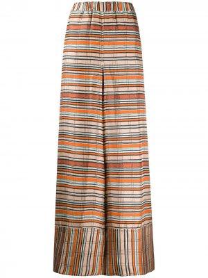 Полосатые брюки широкого кроя Pierre-Louis Mascia. Цвет: оранжевый
