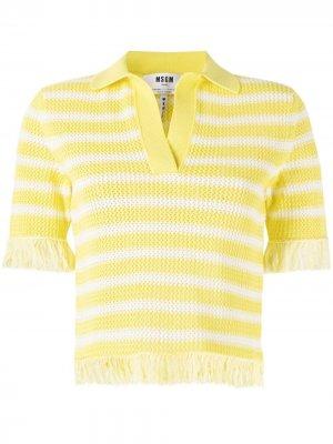 Рубашка поло с бахромой MSGM. Цвет: желтый