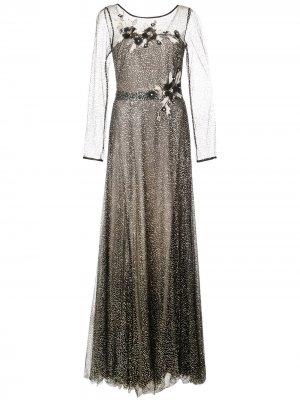 Вечернее платье с цветочной аппликацией Marchesa Notte. Цвет: черный